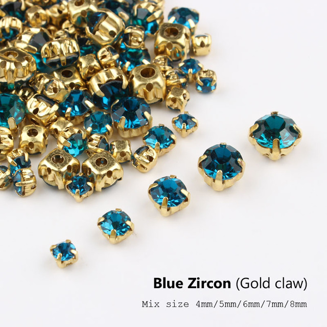 Top Sale Good-Quality Sew On Rhinestones Blue Zircon with Gold Base 4mm-8mm 7471c2a68956