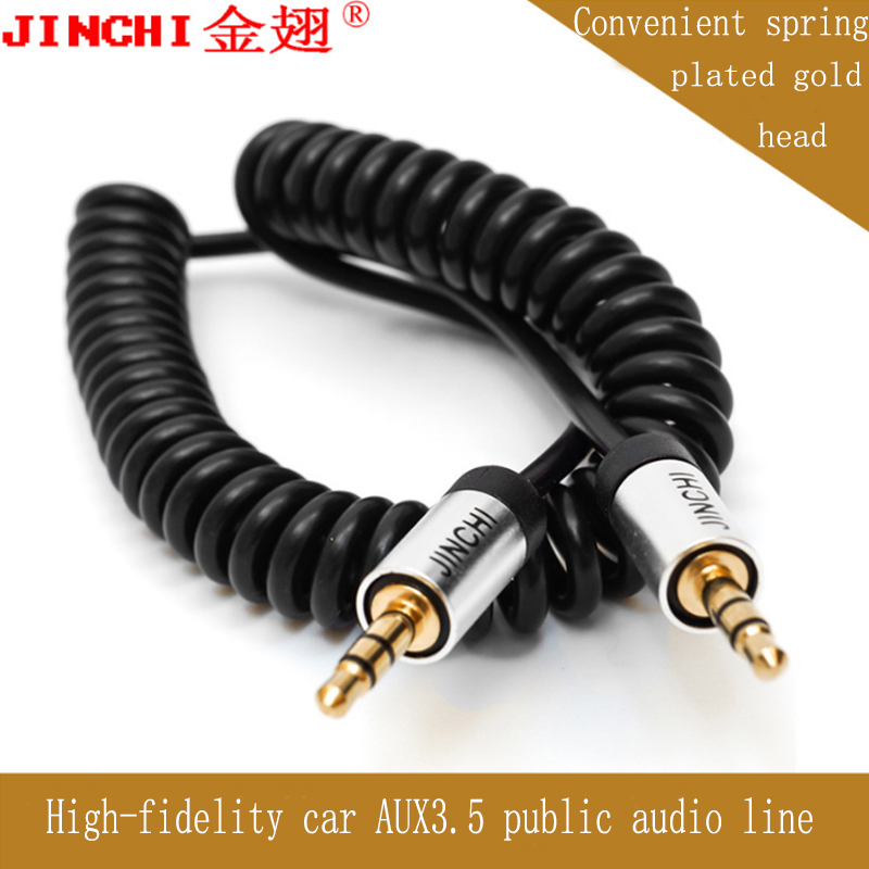 JINCHI 3.5 Audio Cable AUX Cable Gold Plated 3.5mm Jack Male to Male Cable Coiled for Speaker Car MP3 MP4 Headphones 1M/1.5M