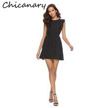 Chicanary Sleeveless Chiffon Mini Dresses with Ruffles Women Solid Summer One-piece Dress