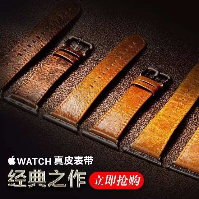 5ebb630987bb92 genuine leather band for apple watch Handmade crazy horse leather strap  wrist for iwatch Series 4/3/2/1 38mm 42mm 40mm 44mm-in Watchbands from  Watches on ...