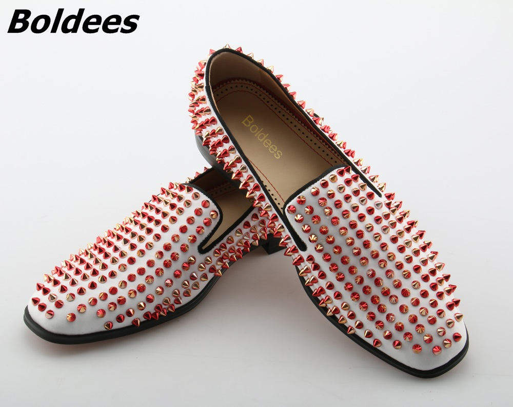 Boldees Handmade Men Spikes Shoes White Rivets Fashion Party and Wedding Men Loafers Italian Style Smoking Slipper Men's Flats 2016 new style handmade white color print gold flower china style men loafers wedding and party men shoes fashion men s flats