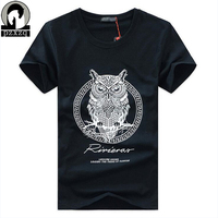 New arrival men fashion 2017 summer style high quality men's t-shirt cotton cartoon OWL animal printed men S-5XL brand tees tops