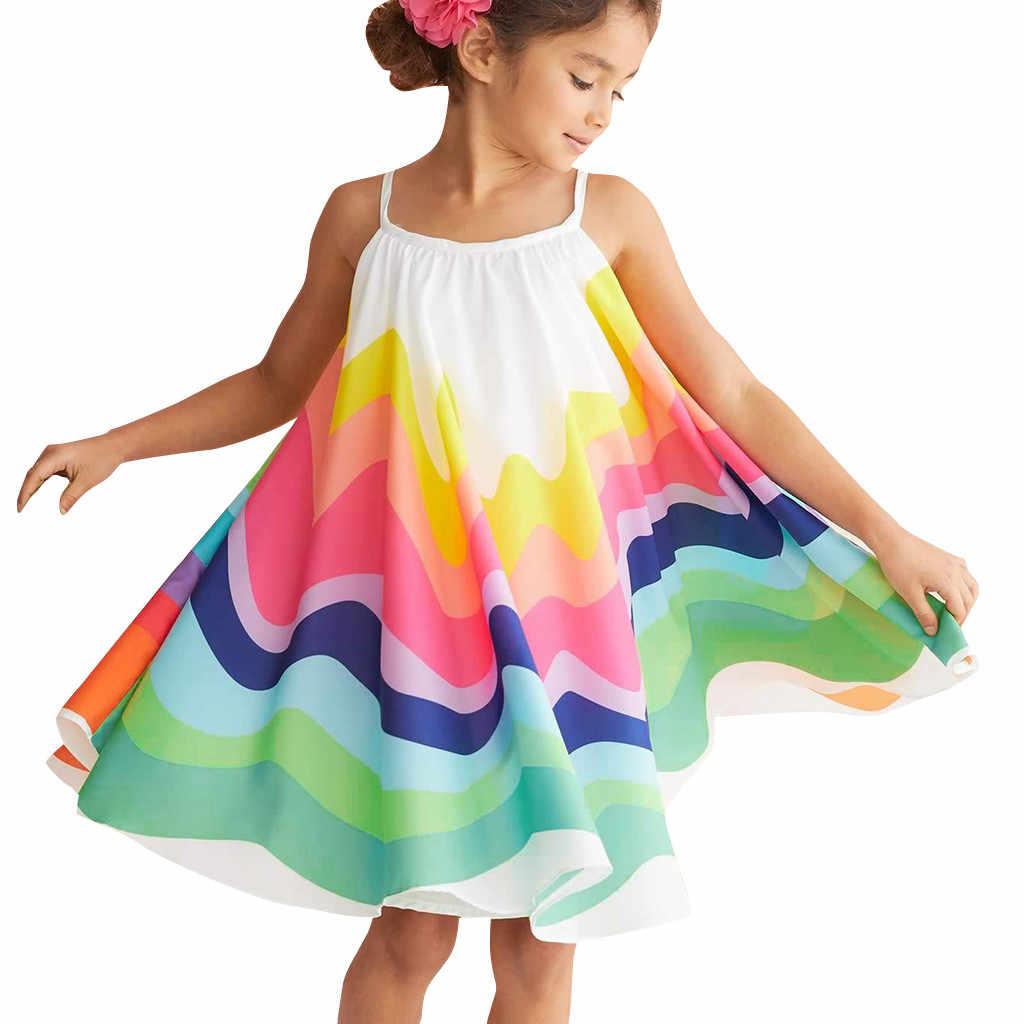 ילד תינוקת בגדי קיץ פעוט תינוק בנות ללא שרוולים קשת הדפסת שמלת אפוד שמלות בגדי vestido infantil חם #06