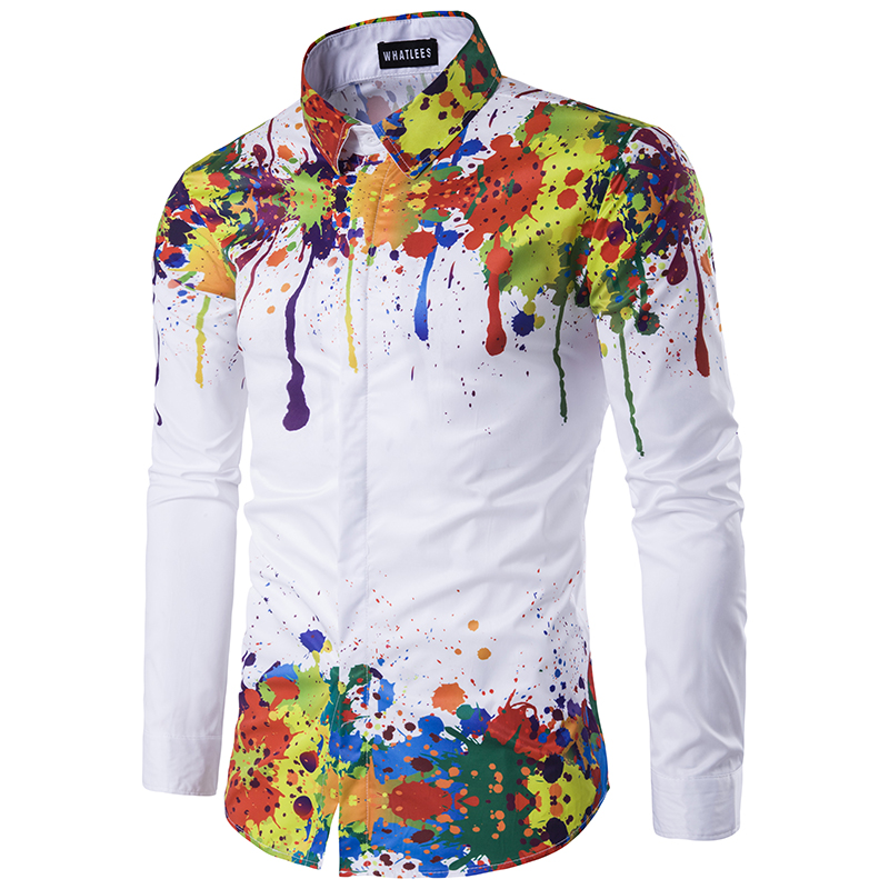 2018 New Male Casual Shirt Ink Splash Paint Color Self-cultivation Leisure 6 Personality Color Long Sleeve Shirt EU/US Size Tops