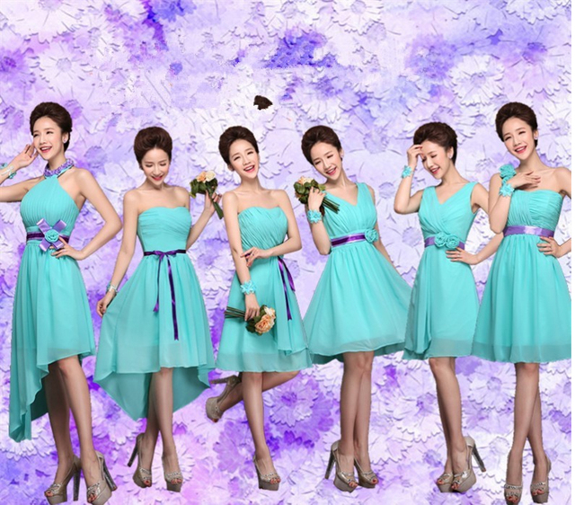 Vestidos de damas de honor azul turquesa