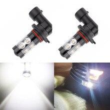 2pcs/set Running Fog Lights Bulbs 50W H10 9145 High Power LED Chips 6000K Super White Daytime 2pcs light bulbs car led fog light h10 9145 super bright 2835 16smd white 6000k 80w