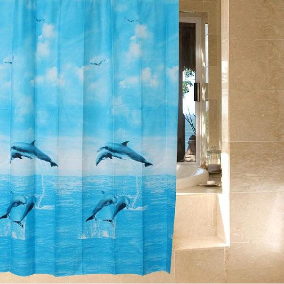 ASLT Light Blue Dolphin Waterproof Fabric Bathroom Shower Curtain 180 x 180cm