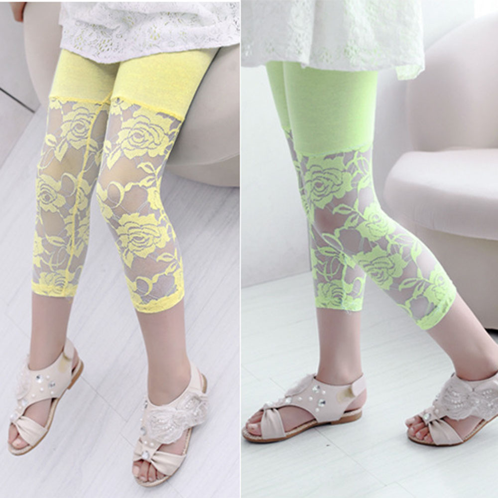 Baby Kids Girls Ballet Dance Lace Modal Leggings Pantalones Capris recortados 2-7Y