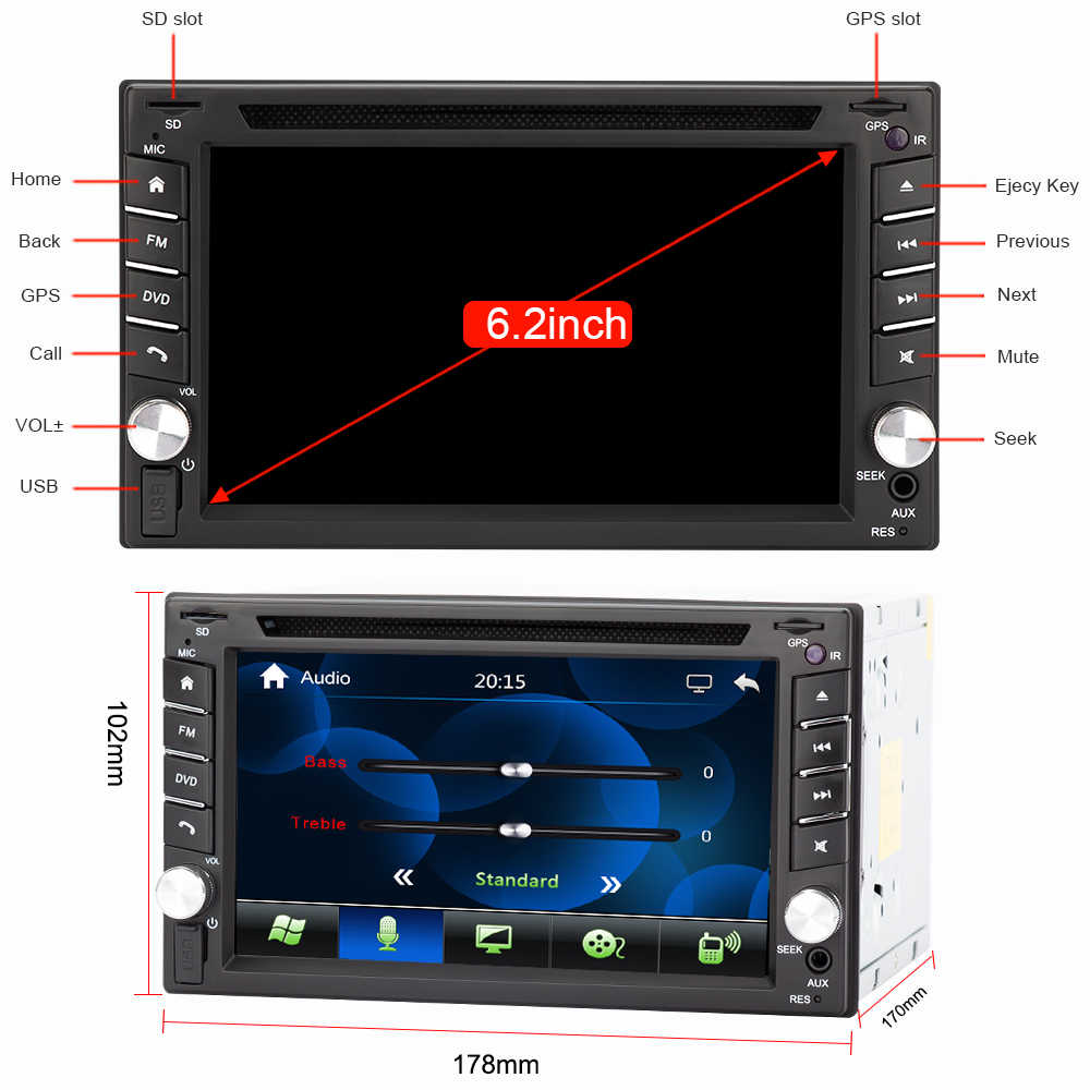Eunavi ダブル 2 din ユニバーサルカー Dvd ラジオプレーヤー Gps ナビゲーション日産ダッシュカー PC ステレオヘッドユニットビデオ + Bluetooth