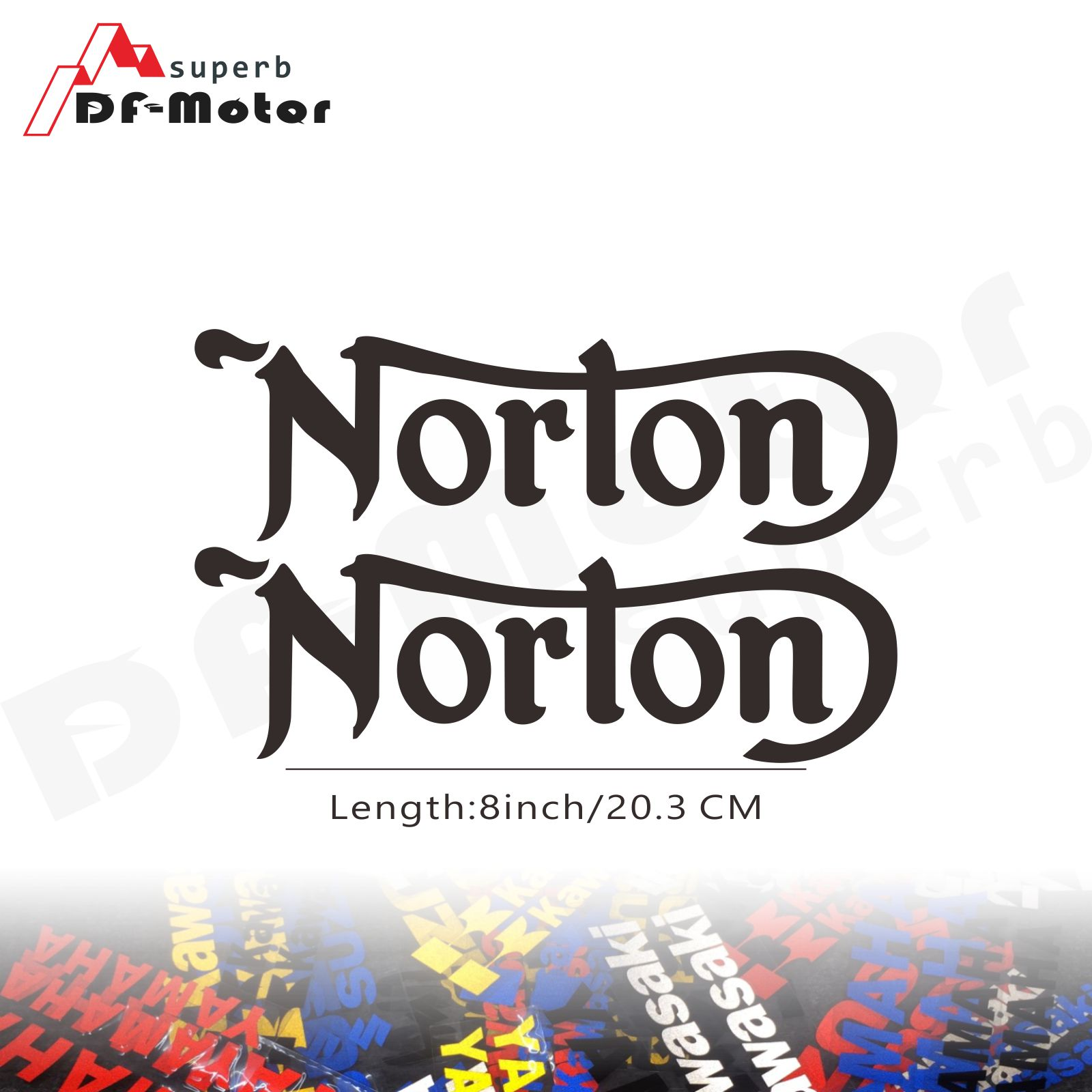 8Inch Reflective Sticker Decal Motorcycle Car Sticker Wheels Fairing Helmet Sticker Decal For Norton Motorcycles Logo