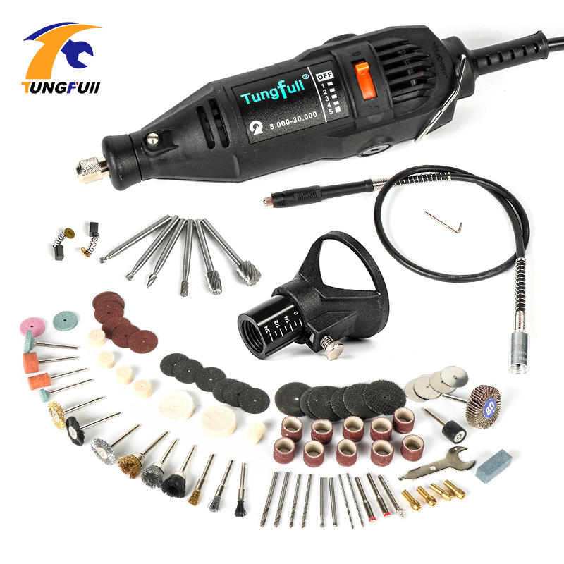 Tungfull Dremel Style Tungfull 130W Style Electric Rotary Tool Variable Speed Mini Drill Flexible Shaft Accessories Power Tools tasp 220v 130w electric dremel rotary tool variable speed mini drill with flexible shaft and 175pc accessories storage bag