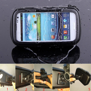 Universal Waterproof Motorcycle Phone Holder Zipper Pocket Handlebar Phone Mount Stand Support Bag For Iphone X 8 7 6 Cellphone 3