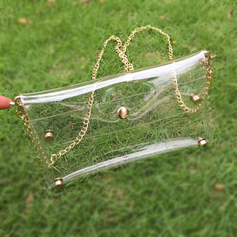 50pcs Lot Clear PVC Shoulder Bag Metal Chain Envelope Clutch Game Day Holder Team Accessory Crossbody