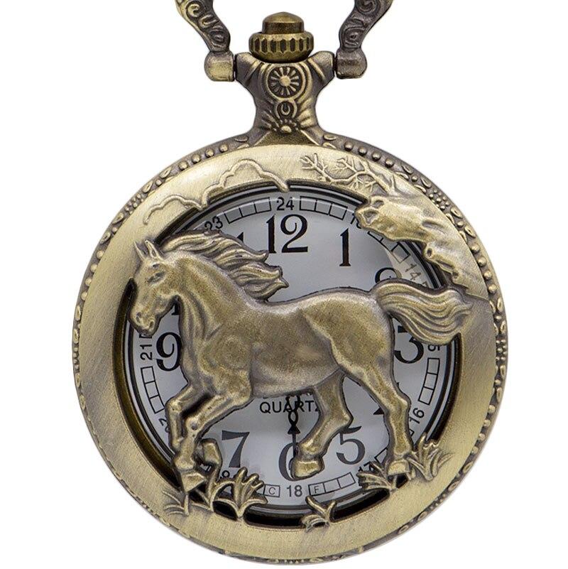 Vintage Creative Hollow Horse Quartz Pocket Watch Chain Fob Pocket Watches Pendant Necklace Mens Gift CF1078