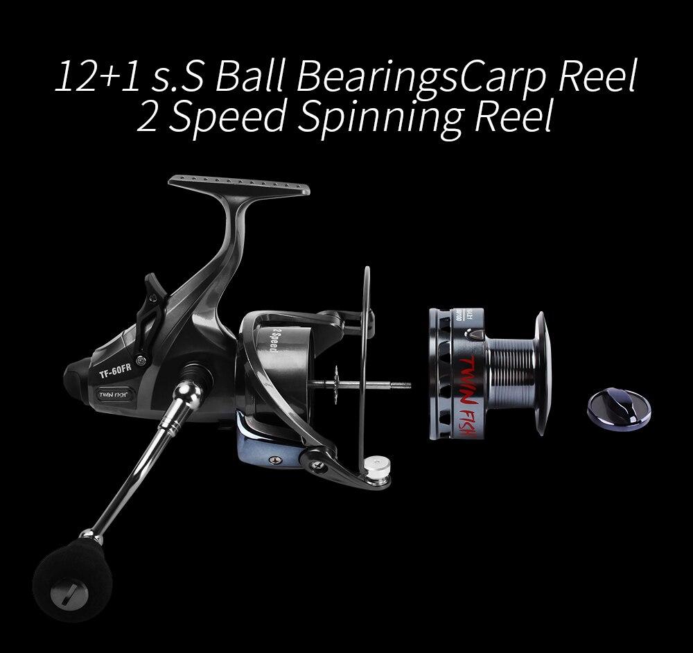 RoseWood 2 Speed 6.31 4.31 Front And Real Dual Braking Spinning Reel 12+1 S.S Bearings Carp Fishing Reels + Spare Spool  (4)