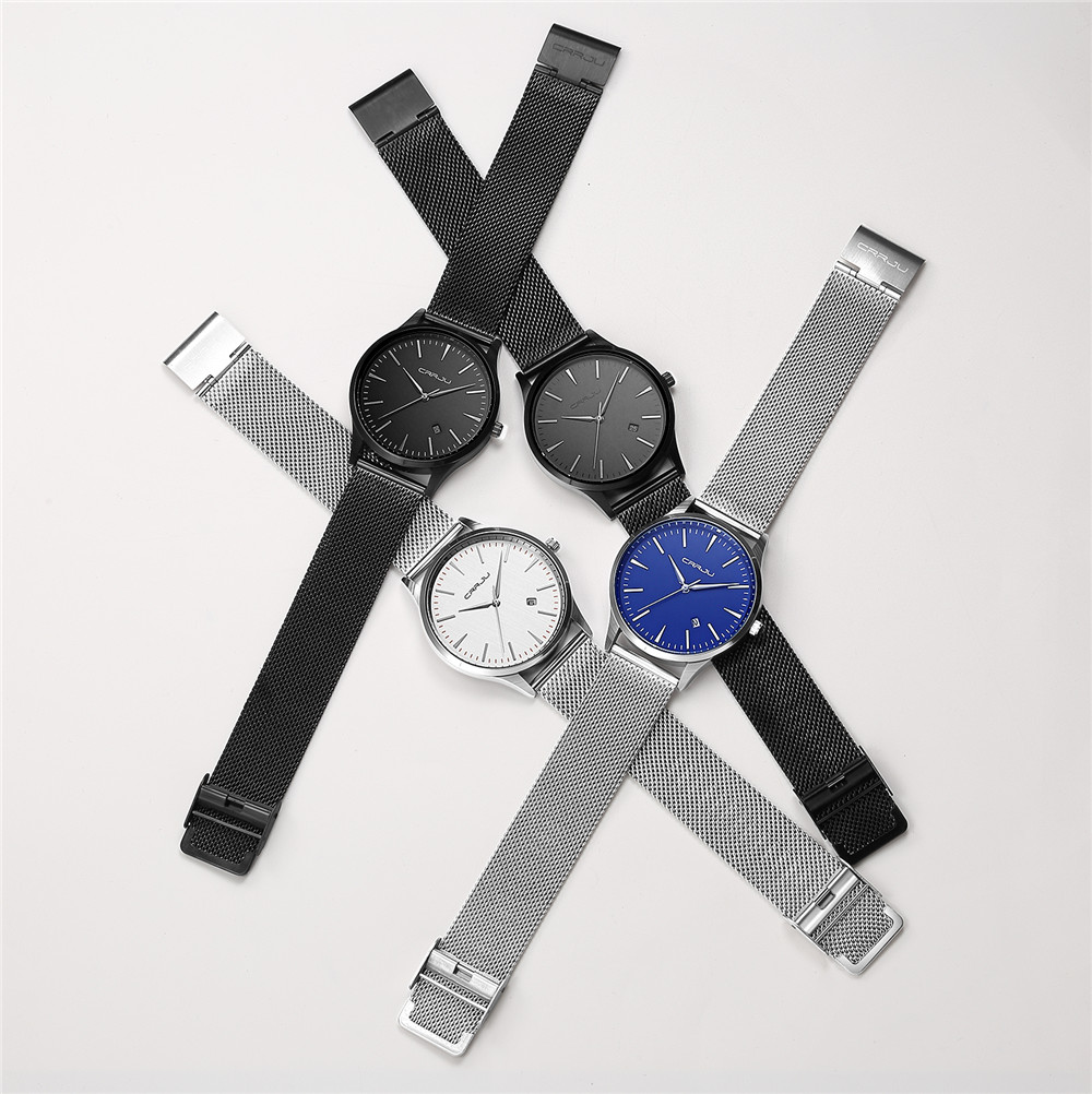 Topdudes.com - Top Dude's Full Stainless Steel Mesh Strap Business Quartz Watches