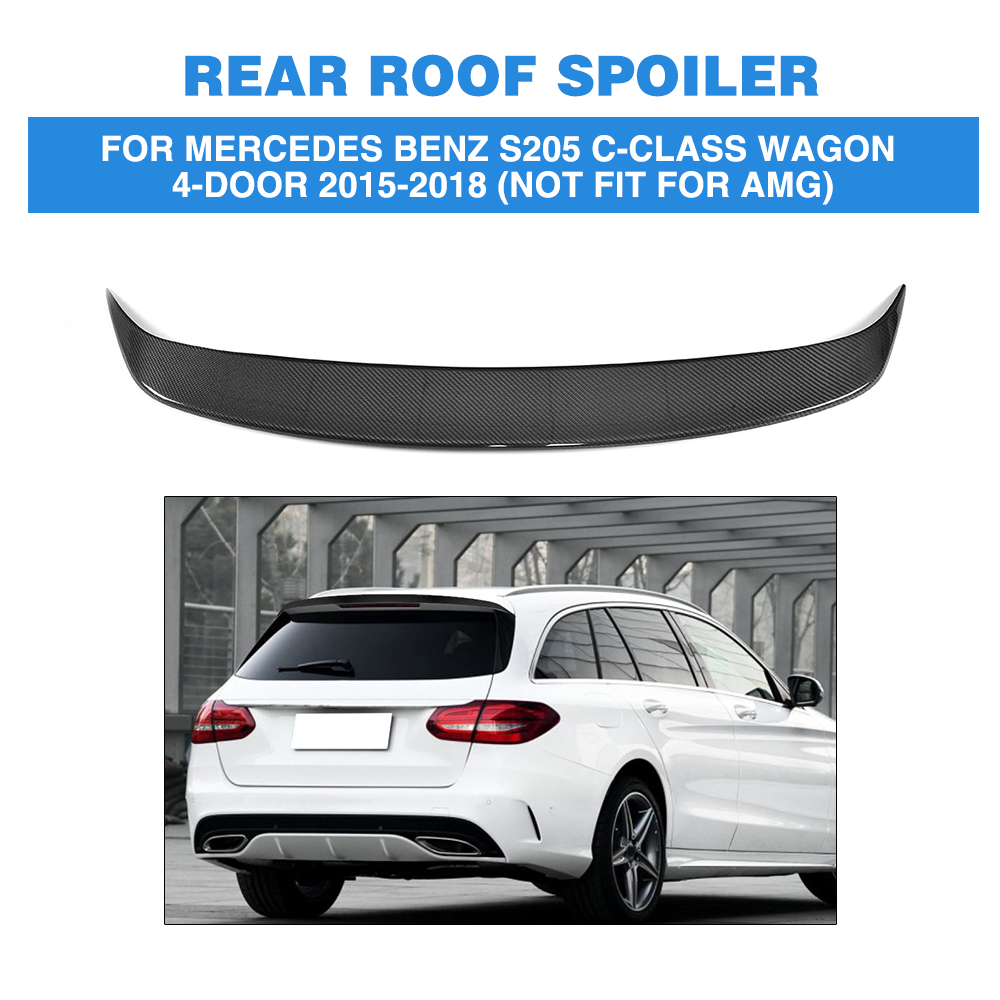 Carbon Fiber Car Rear Boot Wing Lip Roof Spoiler for Mercedes-Benz C Class S205 Wagon Hatchblack 4 Door 15-18 Not fit for AMG pu rear wing spoiler for audi 2010 2011 2012 auto car boot lip wing spoiler unpainted grey primer
