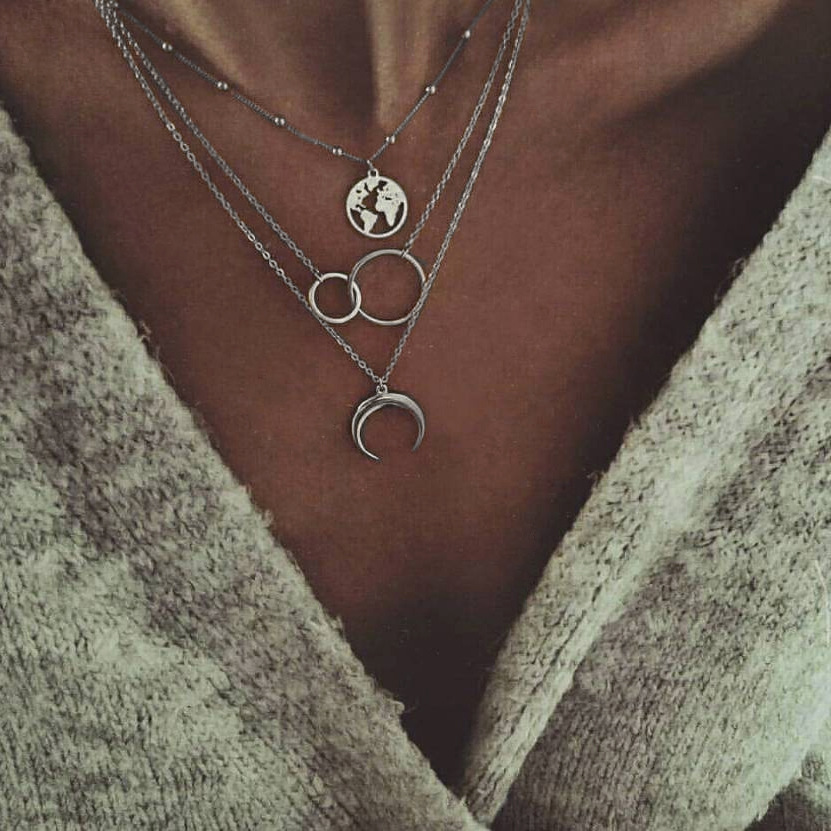 Women Fashion Retro Moon World Map Circle Pendant Multilayer Silver Necklace Party Charm Jewelry Accessories Christmas Gifts