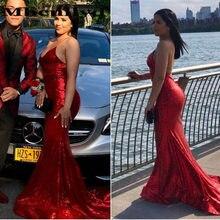 7548bb8c58 Modesto sirena vestidos de noche 2019 nueva Sexy de cuello en V sin  respaldo trompeta rojo barato baile de graduación vestidos d.