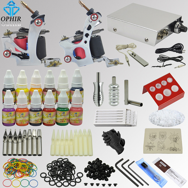 OPHIR 2017 NEW Pro Tattoo Kit 2 Tatoo Gun Machine with Grip Needles 12x10ml Ink 346pcs _TA069