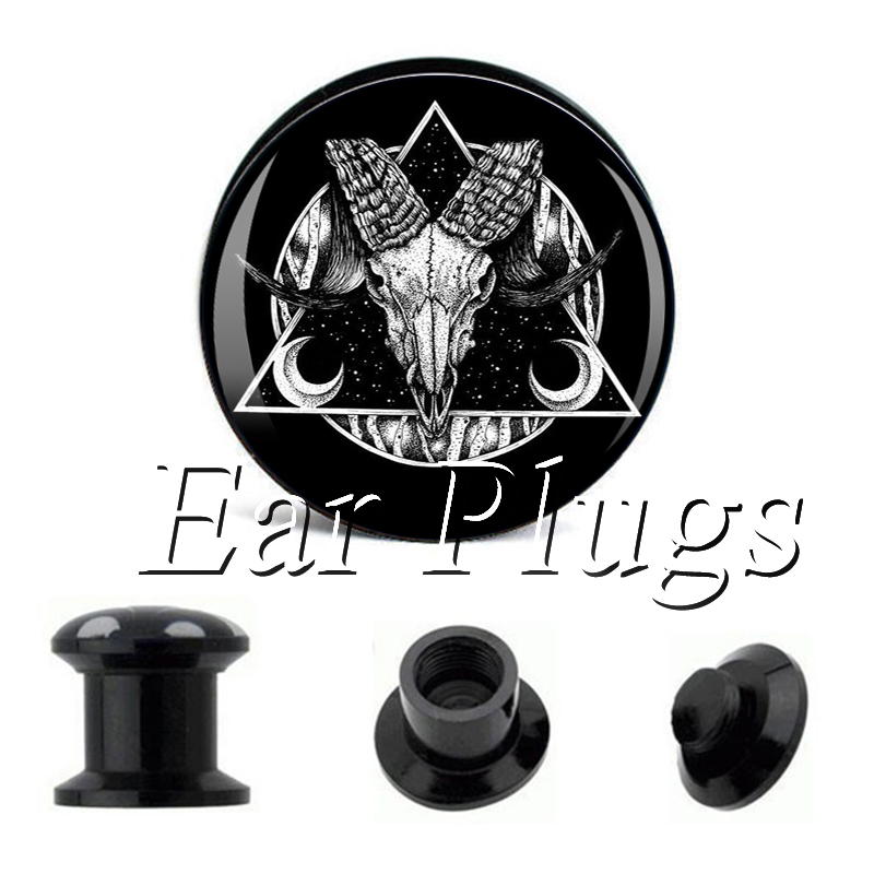 Wholesale Black Baphomet plug gauges acrylic screw ear plug flesh tunnel piercing body jewelry