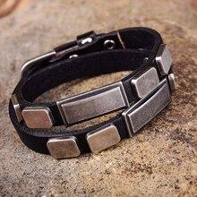G396 черный тег шипованных двойной обёрточная бумага Натуральная кожа браслет наручная повязка наручник