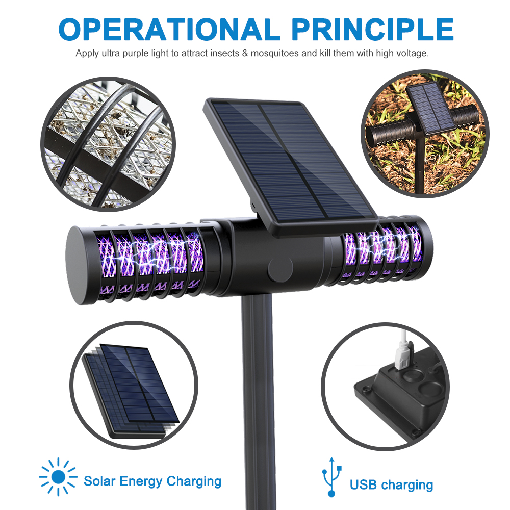 Solar Mosquito Killer Lamp Outdoor Waterproof LED Lawn Light Villa Ground Garden Light Bug Zapper Portable Anti-Mosquito MachineSolar Mosquito Killer Lamp Outdoor Waterproof LED Lawn Light Villa Ground Garden Light Bug Zapper Portable Anti-Mosquito Machine