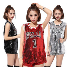 Summer Glitter Club Dance Costumes Women Singers Hip-hop Dance Jazz Stage Wear Streetwear Oversized Number Paillette T-shirt(China)