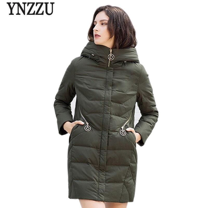 Luxury 2018 Winter Jacket Women Solid Mid-Long Duck   Down     Coat   Slim Thicken Warm Hooded Female Jacket Fluffy Outwears AO767