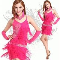 Traje desempenho latina desgin vestido para com borlas de cristal de diamante decoração red