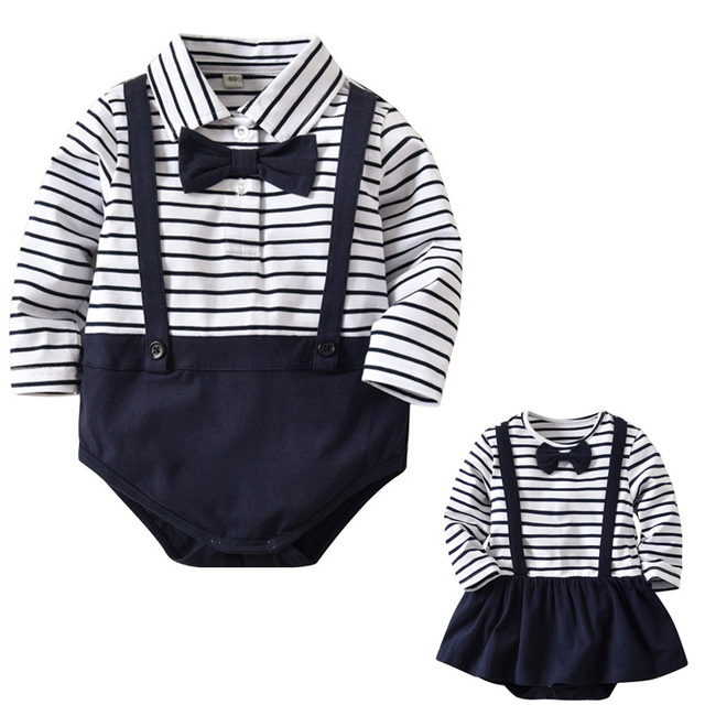 660b6764c854 Baby Boys Girls Rompers Striped Long Sleeve Clothes Infant Baby Suit 0-18M  Clothing Overalls Gentleman Baby Body Jumpsuit