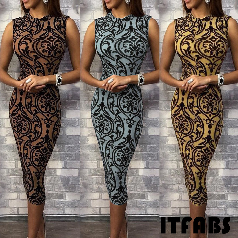 HTB14NkTabj1gK0jSZFuq6ArHpXaL Women Summer Sexy Dress Bodycon Sleeveless O-Neck Pencil Skinny Pattern Print Evening Party Club Mid Calf Dress