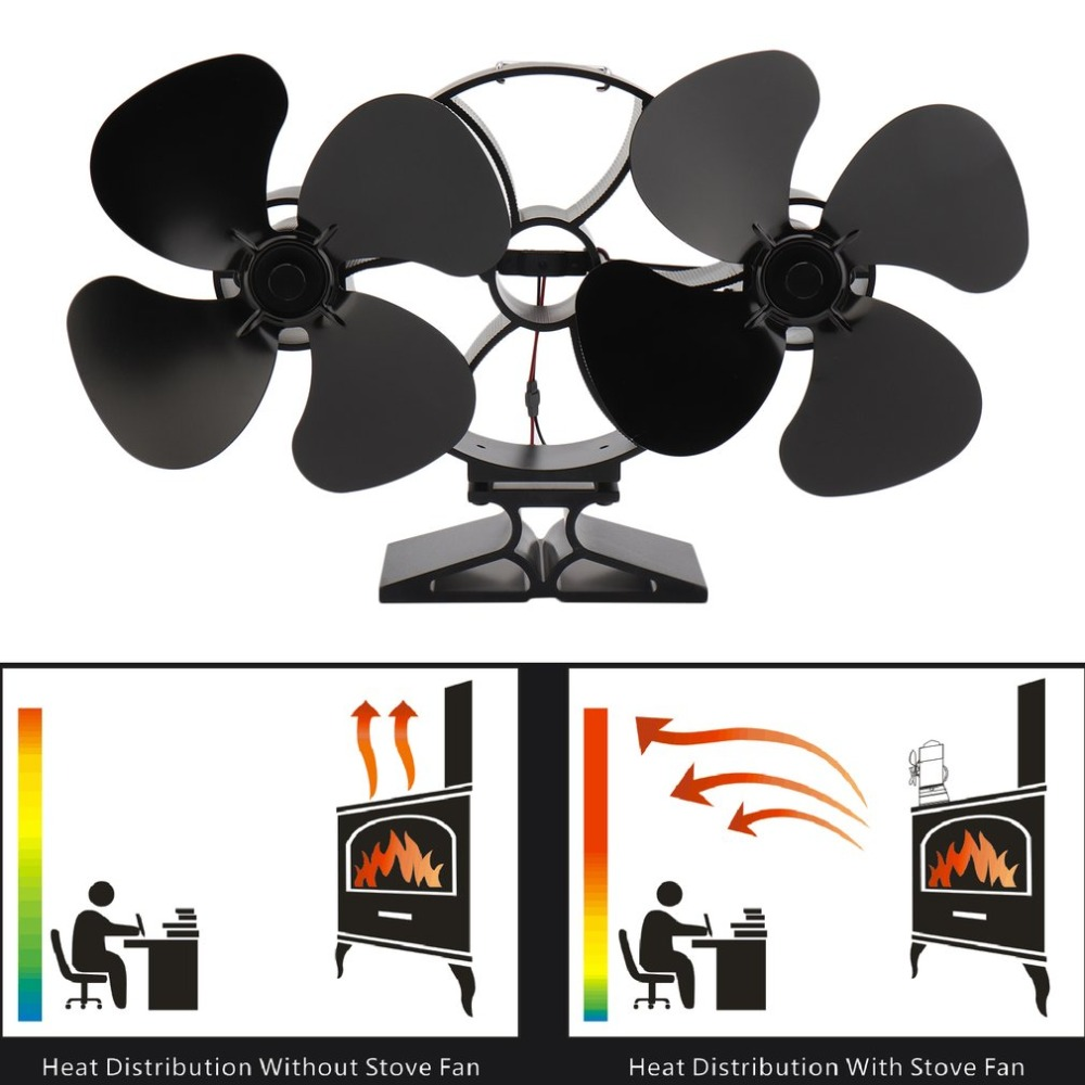 Wood Log Burning Stove Fan 8 Blade Fireplaces Top Fan Heat Powered Stove Fan Universal Wood Burning Stove Accessories [2 years warranty ] galafire large airflow 4 blade heat powered stove fan wood burning stove fan stove thermometer
