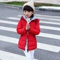 Size130 ~ 160 das Crianças Inverno Quente Outerwear Crianças Jaquetas Para Meninas Jaqueta Com Capuz Casacos Criança doces sólida