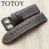 TOTOY Handmade Shark Leather Watchbands 20MM 22MM 24MM 26MM Black Men's Leather Watchbands, Red Stitching + Fast Delivery