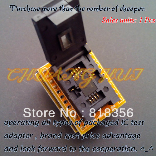 IC TEST QFN8 to DIP8 Programmer Adapter WSON8 DFN8 MLF8 to DIP8 socket for 25xxx 6x8mm Pitch=1.27mm