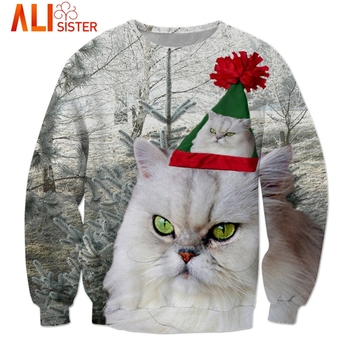 Festive 3d Christmas Cat Sweatshirt