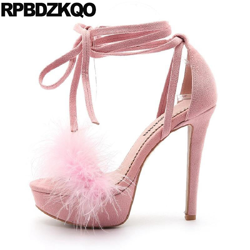 67b4f18e5943 High Heels Sexy Ladies Strap Up Sandals Fluffy Pink Stiletto Tie Fetish  Platform Shoes Fur Extreme 11 Large Size Pumps Women