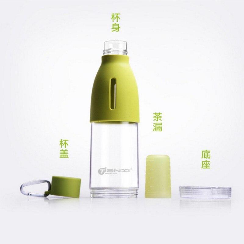 Высокое качество Пластик бутылка для воды 500 мл Портативный герметичным Чай спорт отдых путешествия с сетчатый фильтр Чай бутылки