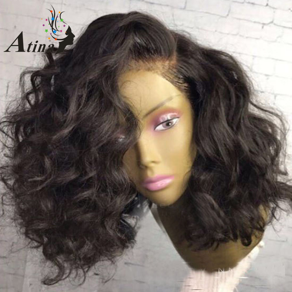 Natural Black 13*6 Deep Part Lace Front Bob Wig Curly Wavy Blunt Cut Lace Front Human Hair Wigs 180% Density Pre Plucked Remy