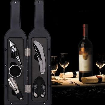 3Pcs/5Pcs Wine Bottle Corkscrew Set Tool Bottle-Shaped Holder Bottle Opener Gift @LS