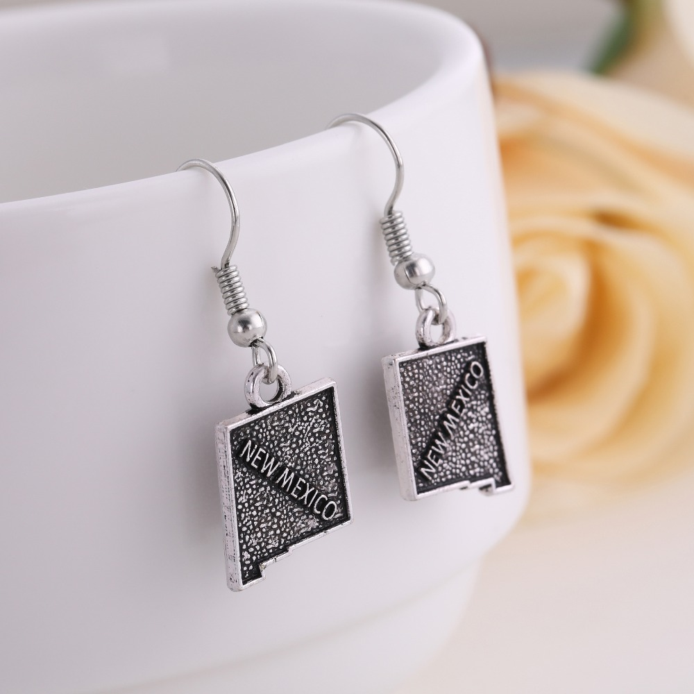 New Mexico State Silhouette Black Crystal Stud Post Dangle Earrings