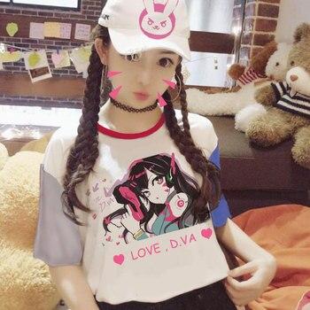 11Gong 2017 Women Harajuku Patchwork D.va Short Sleeve T Shirt Stitching Female Hana Song Casual T-shirt Ladies Cotton Tees