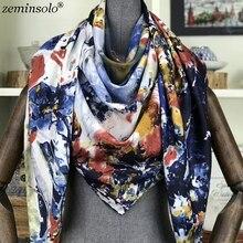 Luxury Brand Silk Scarf Women Floral Printed Square Scarves Large Foulard Femme Twill Spring Bandanas Shawls Stoles