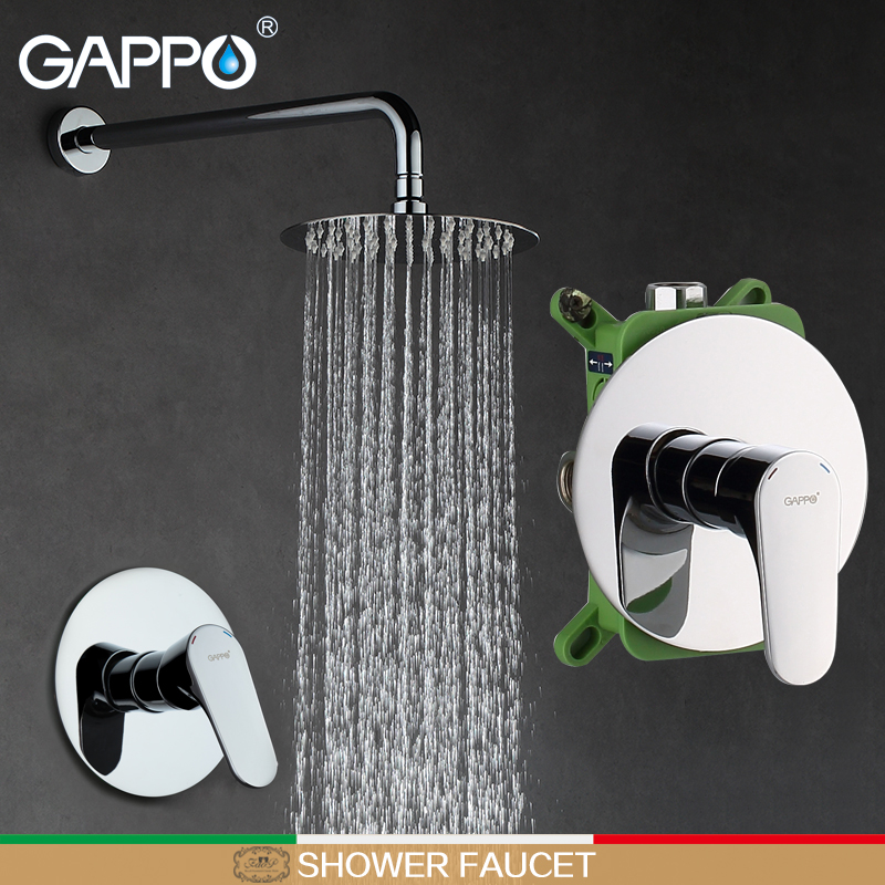 GAPPO Shower Faucets hand shower waterfall mixer tap rainfall faucets bath shower head in-wall bath faucet mixer
