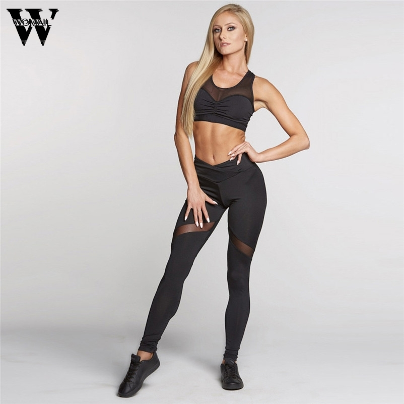 WOMAIL Good Deal 2017 Spring Women Sexy Pants Compression Hollow Mesh Skinny Fitness Gifts #23