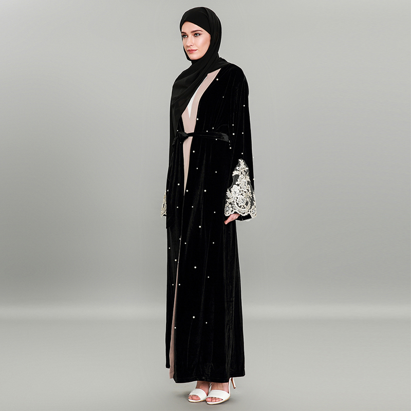 Robe Musulman Perles Velours Islamique Nouvelle Noir Broderie Turc Et Jilbabs Femmes Abaya Robes Abayas Vêtements Or Musulmane 50CwqXw