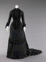 1880 s Черное Бисероплетение викторианское платье для ужина женское платье