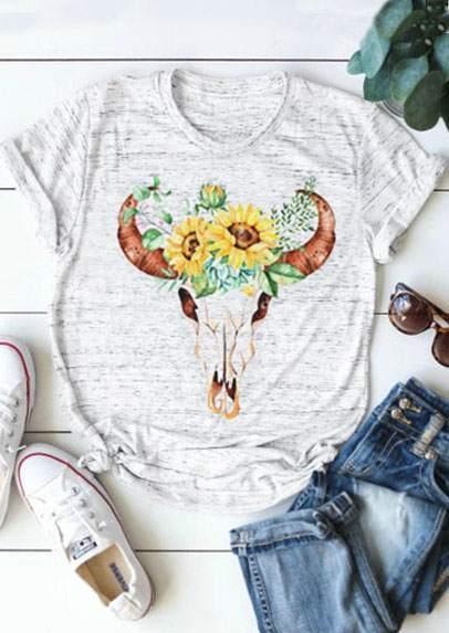 Phụ Nữ mới Floral Bull Sọ In T-Shirt Mùa Hè Ngắn Tay Áo trắng T-Shirt Nữ 2018 Giản Dị Áo Tee Thời Trang Nữ t áo sơ mi