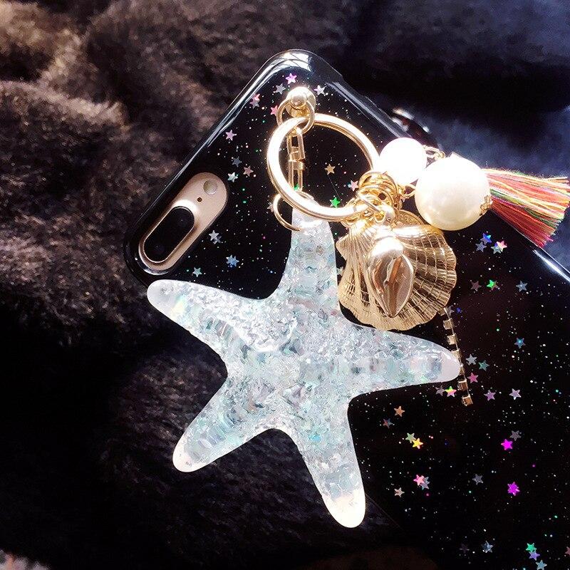 RUIMO Starfish Shellfish Tassel key chain Women s Bag Chain Pearl ... cedb2c1b4f9b